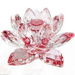 Flor de Lótus de Cristal M Efeito Vermelho