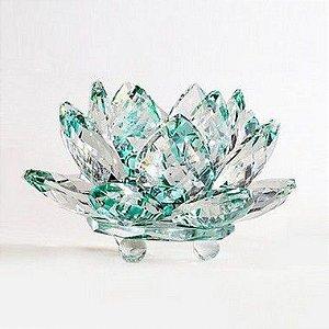 Flor de Lótus de Cristal M Efeito Verde