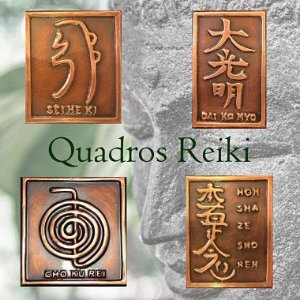 Kit 4 Quadros Simbolos do Reiki de Cobre