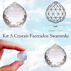 Kit 5 cristais Facetados Feng Shui Swarovski 20mm