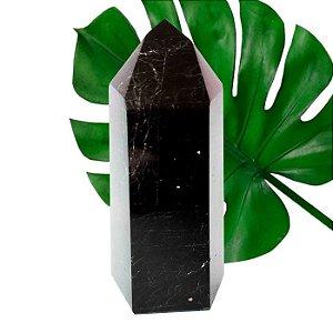 Obelisco de Turmalina Negra Lapidada Médio