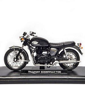 Miniatura Triumph Boneville T100 Preta - Welly 1:18