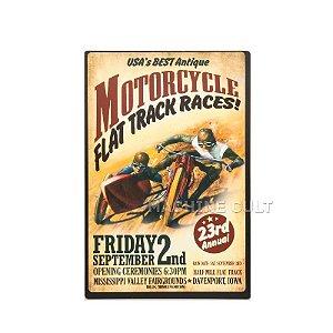 Placa Madeira Motorcycle Race