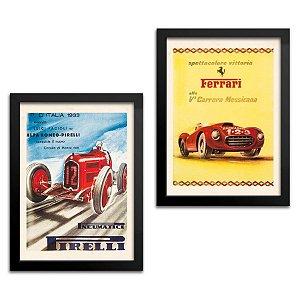 Kit 2 Quadros Carro - Pirelli e Ferrari - 23x33cm