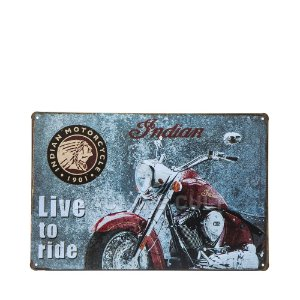 Placa Moto Indian Live to Ride