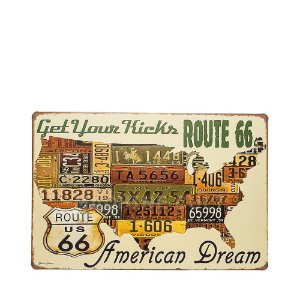 Placa Decorativa Route 66 - Get Your Kicks