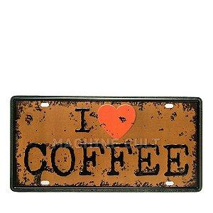 Placa I love Coffee - Alto Relevo