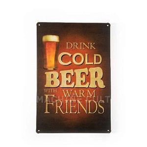 Placa Decorativa em Metal - Drink Beer