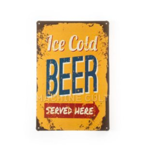 Placa Decorativa em Metal - Ice Cold Beer