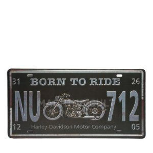 Placa Decorativa Born to Ride - alto relevo