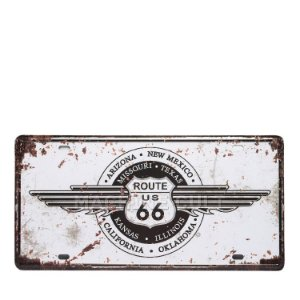 Placa Decorativa Route 66 Trip - alto relevo