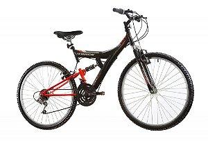 "Bicicleta TB-100 XS Full Suspension Aro 26"" 18 Marchas Preto/Laranja - Track & Bikes"