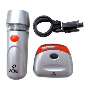 Kit de farol e lanterna para bicicleta 7 funções 5 leds x pilhas não inclusas Acte Sports