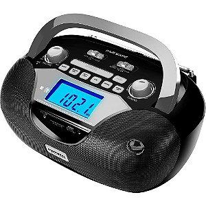 Rádio Portátil Mondial BX-12 Multisound AM/FM USB SD Card Função Despertador e Gravador Preto/Prata Bivolt