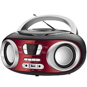 Rádio Portátil Mondial BX-17 Up c/ FM Sintonia Digital, USB e Equalizador Bivolt Vermelho