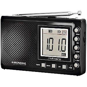 Rádio Portátil Mondial RP-03 Multi Band AM/FM, Display Digital e Relógio Bivolt Preto