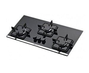 Cooktop Slim  3 Queimadores Vidro Preto Acendimento Automático Bivolt Built
