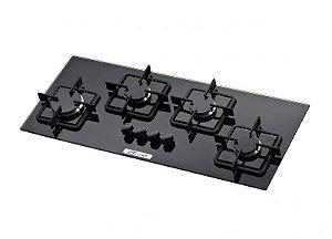 Cooktop Slim 4 Queimadores Vidro Preto Acendimento Automático Bivolt Built