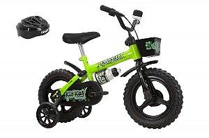 Bicicleta Kit Kat Preto/Verde Aro 12 Masculina com Acessórios - Track & Bikes