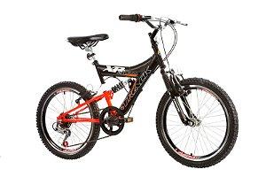 Bicicleta Aro 20 Dupla Suspensão 6V XR 20 Full Preto/Laranja - Track & Bikes