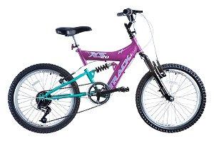 Bicicleta Aro 20 Dupla Suspensão 6V XS 20 Full Magenta/Azul - Track & Bikes