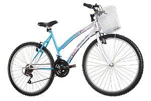 Bicicleta Aro 26 Marbela 18 Marchas Azul/Branco- Track & Bikes