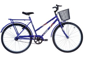 """Bicicleta Practise Aro 26"""" Utilitária com Cesta Aramada Azul - Track & Bikes"""