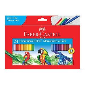 Caneta Hidrográfica Faber-castell Colors Lavável 24 Un.
