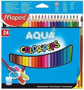 Lápis De Cor Color Peps Aqua Maped 24 Cores + Pincel