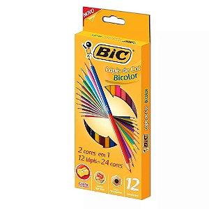 Lápis De Cor Bicolor Bic 24 Cores Hexagonal + 1 Apontador