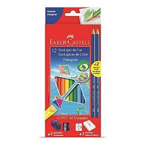 Ecolápis De Cor Triangular Faber-castell 12 Cores + 2 lápis grafite, 1 apontador e 1 borracha