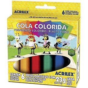 Cola Colorida Acrilex 6 Cores 23g Cada