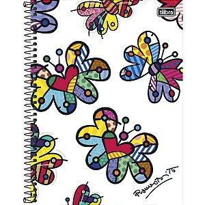 Caderno Universitário Tilibra Romero Britto Borboleta 10 matérias 200 Folhas