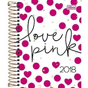 Agenda Espiral Diária Tilibra Love Pink Bolinhas 2018 176 Folhas