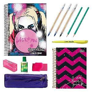 Kit Escolar Universitário c/ 1 Caderno Harley Quinn, 1 Agenda Love Pink 2018 e mais