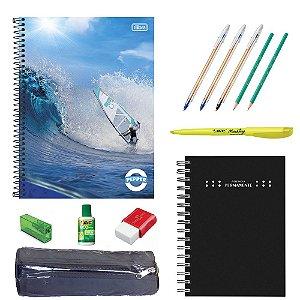 Kit Escolar Universitário C/ 1 Caderno 10 matérias Windsurf, 1 Agenda E Mais