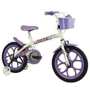 "Bicicleta Aro 16"" Pinky Branco/Lilás - Track & Bikes"
