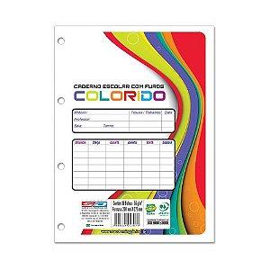 Caderno Escolar com Furos Colorido 96 Folhas - Caderno São Domingos