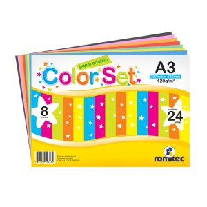 Papel Criativo Romitec Color Set A3 8 Cores 24 Folhas 297 mm x 420 mm 120g/m²