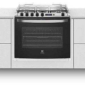 Fogão de Embutir Electrolux 76BER Porta Full Glass e Timer 5 queimadores Branco