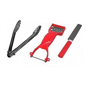 Kit Cozinha c/ 1 Ralador/Descascador, 1 Pegador e 1 Faca com Protetor FWB