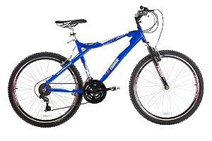 Bicicleta Aro 26 Aluminio Susp 21 Marchas Azul e Branco - Track & Bikes
