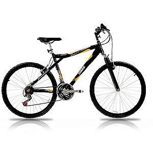 Bicicleta Aro 26 Aluminio Susp 21 Marchas Preto e Amarelo - Track & Bikes