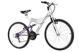 Bicicleta Aro 26 TB-200 Full Suspensão 18 Marchas Lilás - Track & Bikes