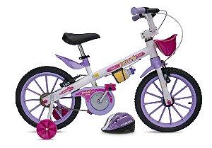 Bicicleta Fischer Ferinha Aro 16 Feminina V-Brake Branco/Lilás c/ Acessórios