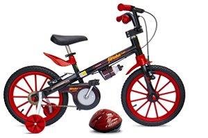 Bicicleta Fischer Ferinha Aro 16 Masculina V-Brake Preto/Vermelho c/ Acessórios