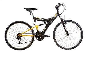 """Bicicleta TB-100 XS Full Suspension Aro 26"""" 18 Marchas Preto/Amarelo - Track & Bikes"""