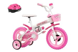 Bicicleta Kit Kat Branco/Rosa Aro 12 Feminina com Acessórios - Track & Bikes