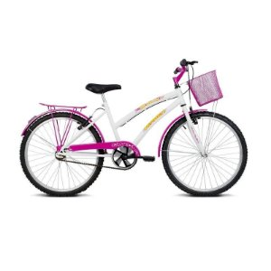 """Bicicleta infantil Aro 24"""" Breeze Branco e Rosa - Verden Bikes"""