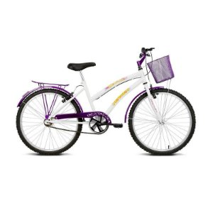 "Bicicleta infantil Aro 24"" Breeze Branco e Lilás - Verden Bikes"